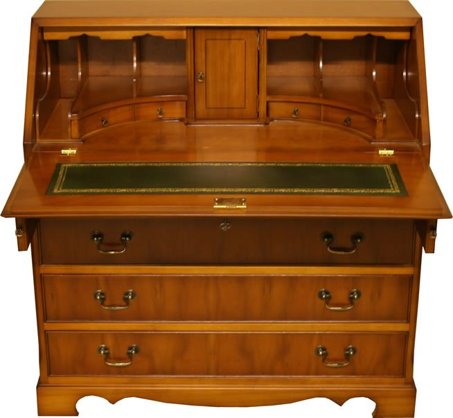 Reproduction_5_Drawer_Bureau_yew_mahogany